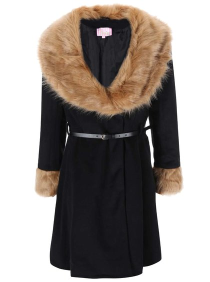 Černý kabát s kožíškem Lipstick Boutique Camilla