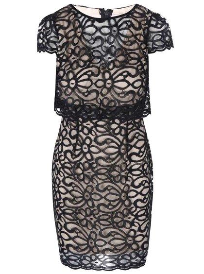 Béžové šaty s čiernou čipkou Lipstick Boutique Eva