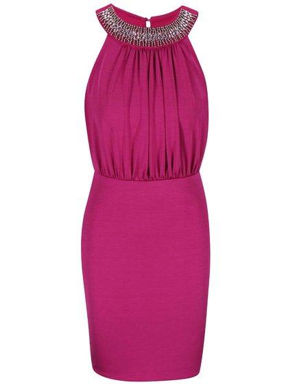 Rochie roz, cu decolteu decorativ, Queenie, de la Lipstick Boutique