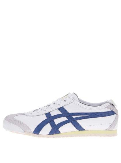 Biele dámske kožené tenisky s modrým znakom Onitsuka Tiger Mexico 66