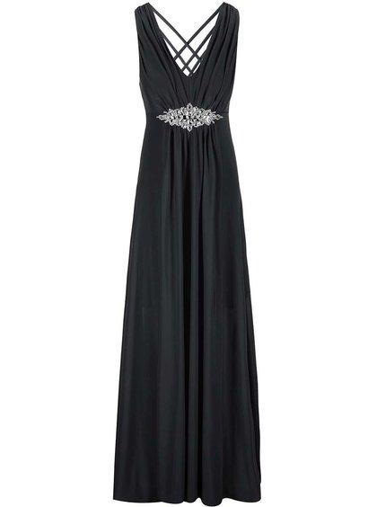 Čierne šaty so zdobeným detailom Goddiva