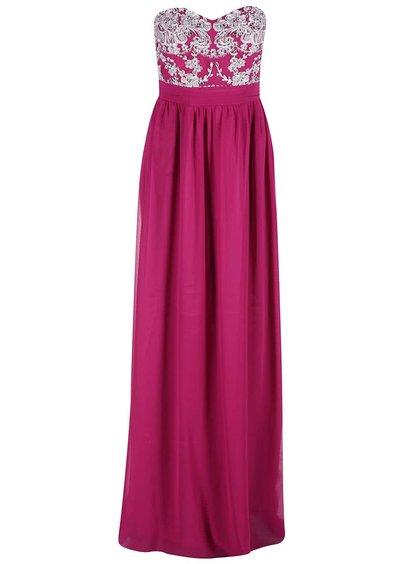 Rochie roz cu parte superioară cu model floral GODDIVA