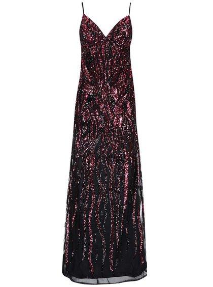 Čierno-ružové dlhé šaty Goddiva