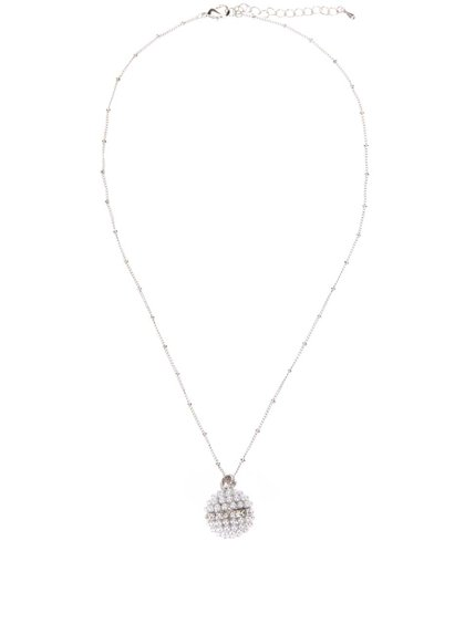 Colier cu pandant argintiu și perle sintetice Gionni Pearl