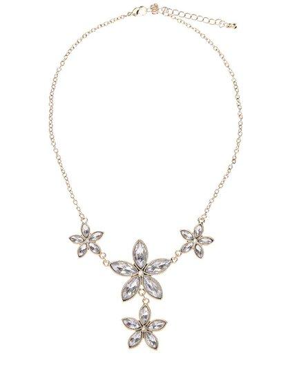 Náhrdelník s květinami ve stříbrné barvě Gionni Crystal