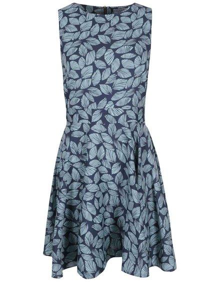 Modré šaty s lístkami Closet