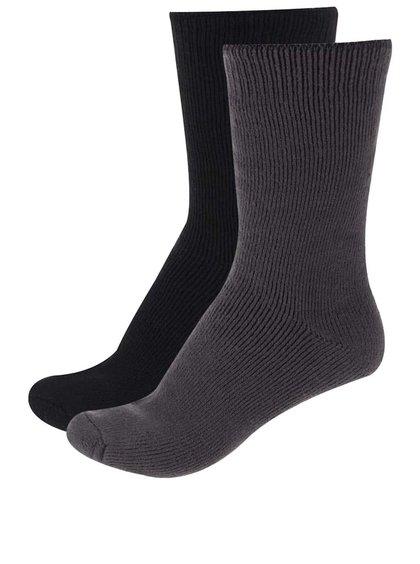 Kolekcia dvoch párov čiernych a sivých ponožiek Claudio