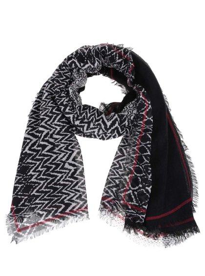 Sivo-čierny dámsky vzorovaný šál s.Oliver