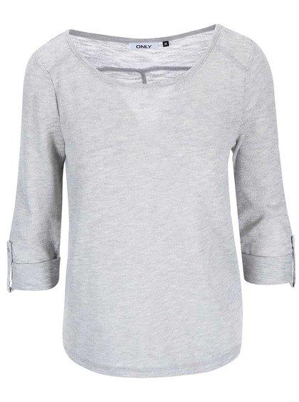Sivé tričko s 3/4 rukávom ONLY Jess