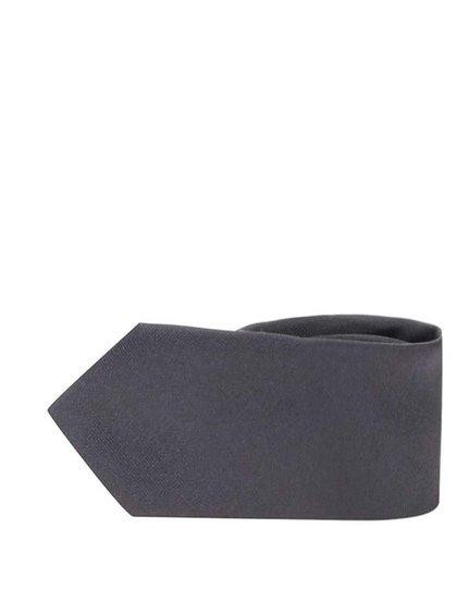 Tmavě šedá hedvábná kravata Selected Homme Plain