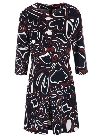 Tmavomodré šaty s farebným kvetinovým vzorom s.Oliver