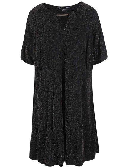 Zlato-čierne šaty so zvonovou sukňou Dorothy Perkins Curve