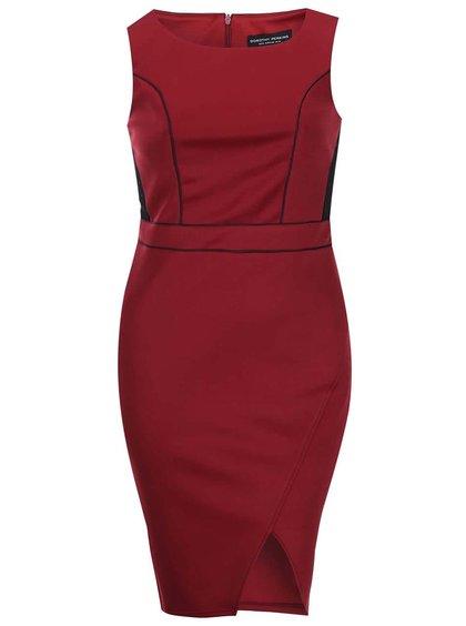 Čierno-vínové šaty s čipkou Dorothy Perkins Curve