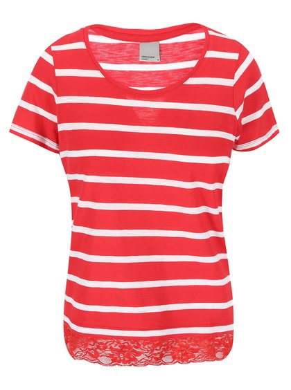 Vero Moda Hope Red and White Striped T-Shirt with Lace Trim