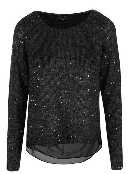 Čierny voľnejší sveter s flitrami ONLY Adelyn