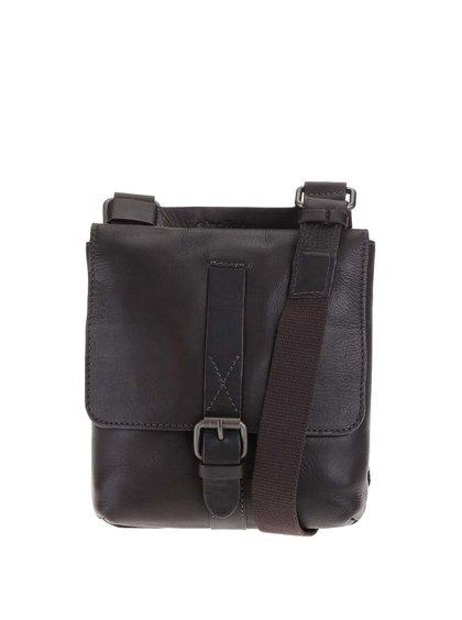 Hnedá kožená pánska taška messanger Strellson Miller