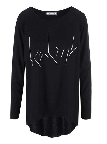"""""""Dobré"""" černé dámské oversized tričko s potiskem Metráž"""