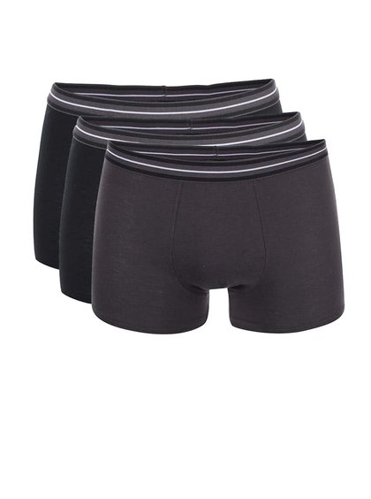Sada tří černých a šedých boxerek Marginal