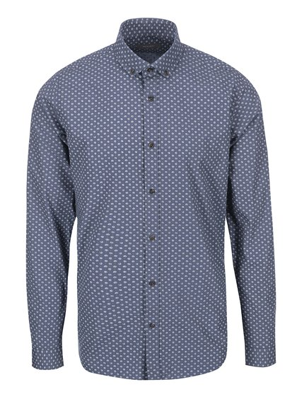 Bertoni Malte Blue and Grey Geometric Patterned Shirt