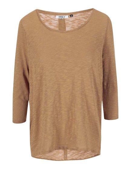 Světle hnědé triko s 3/4 rukávem ONLY Casa
