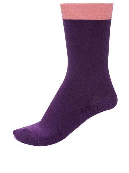 Șosete unisex violet cu manșetă roz Block Berry de la Ballonet Socks
