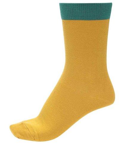 Žluté unisex ponožky se zeleným lemem Ballonet Socks Block Sun