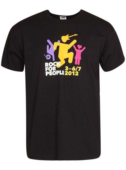 Černé pánské tričko s potiskem ROCK FOR PEOPLE