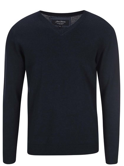 Bluză cu guler în V, bleumarin, de la Shine Original