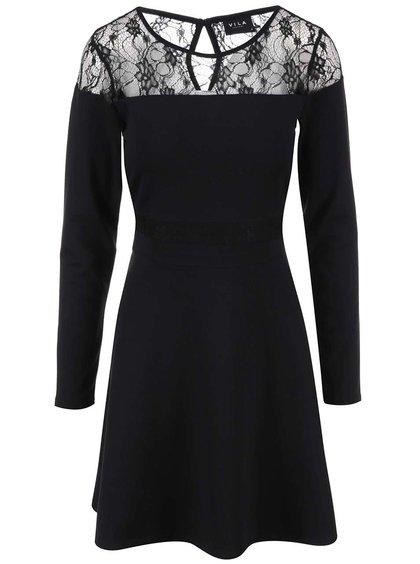 Čierne šaty s čipkovými detailmi VILA Frit