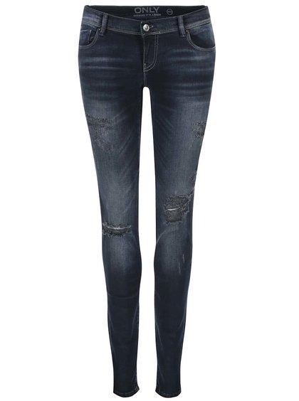 Tmavě modré džíny s potrhaným efektem ONLY Coral
