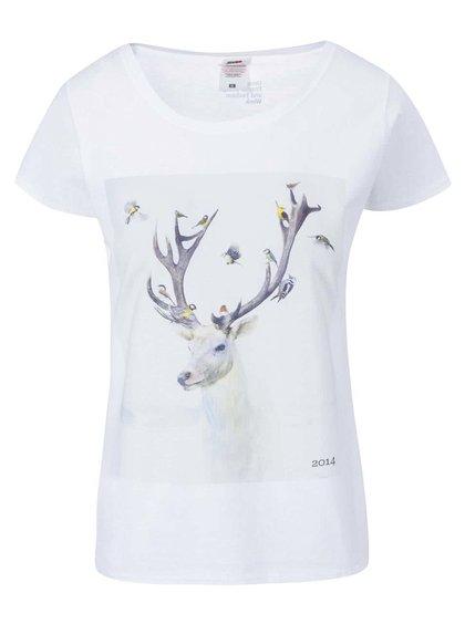 Bílé dámské tričko s jelenem Designblok