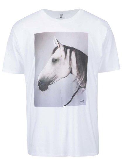 Bílé pánské triko s koňem Designblok