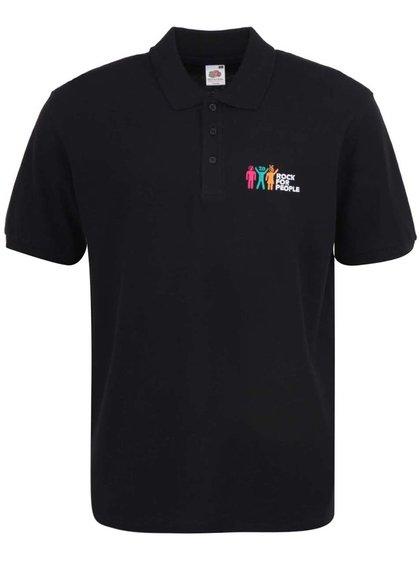 Černé pánské polo triko ROCK FOR PEOPLE