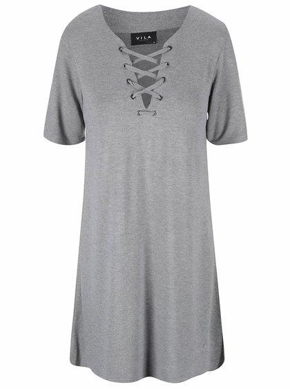Šedé šaty s ozdobným šněrováním VILA Force