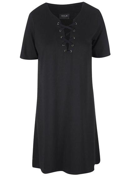 Čierne šaty s ozdobným šnurovaním VILA Force