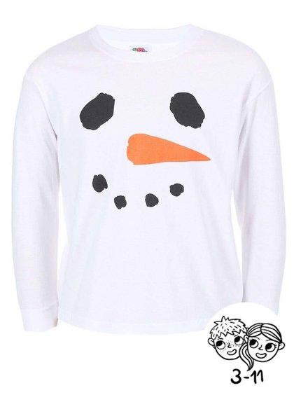 Bílé dětské triko s dlouhým rukávem ZOOT Kids Sněhulák