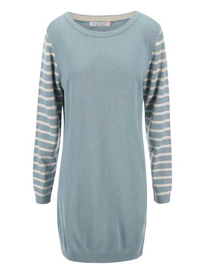 Modrozelené svetrové šaty s pruhovanými rukávy Brakeburn Stripes