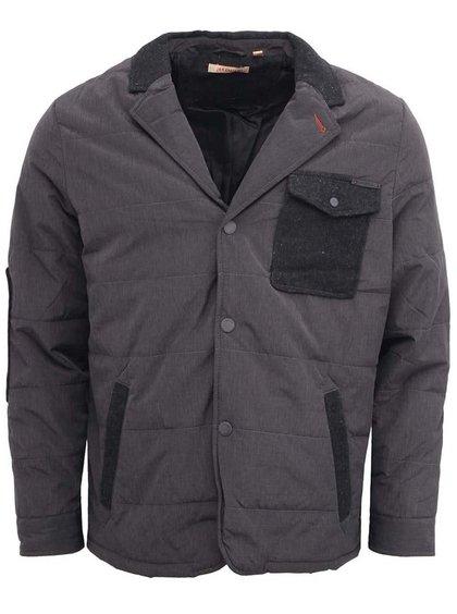 Sivá pánska bunda s čiernym náprsným vreckom Jeremiah