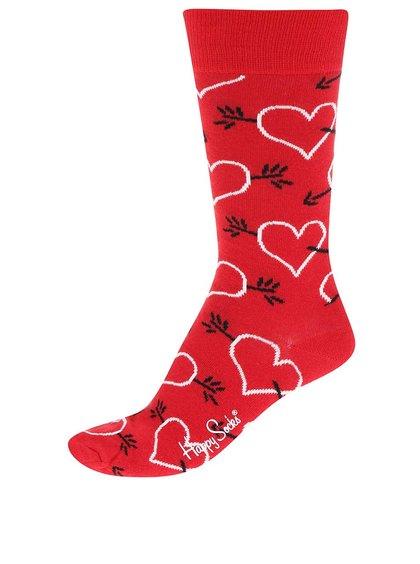 Șosete roșii unisex cu săgeți & inimioare Happy Socks