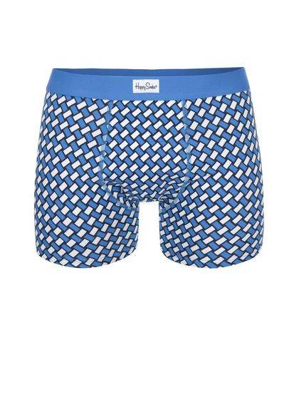 Boxeri cu imprimeu albastru și alb Happy Socks Big Basker