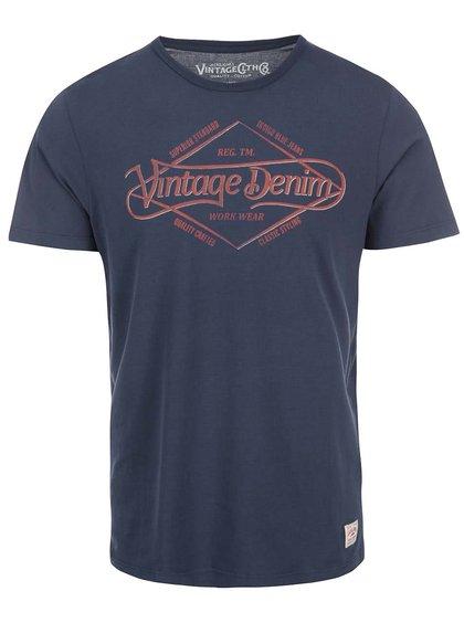Tmavě modré triko s vintage potiskem Jack & Jones Run