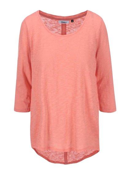 Sytě růžové tričko s 3/4 rukávy ONLY Casa