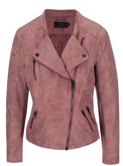 Ružová kratšia bunda v semišovej úprave ONLY Biker