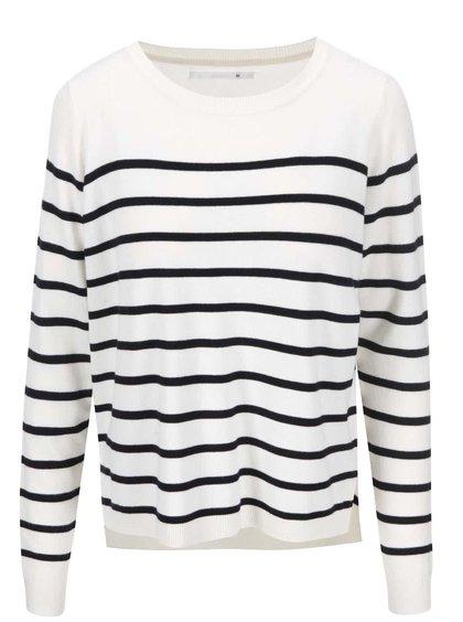 Krémový pruhovaný tenký sveter ONLY Mila