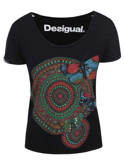 Tricou negru cu imprimeu geometric Desigual Amy
