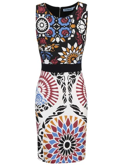 Krémovo-čierne vzorované šaty Desigual Bianca