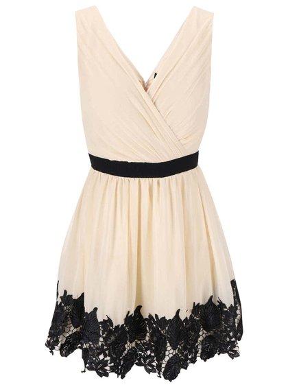 Krémové šaty s čiernymi detailmi a čipkovaným lemom Little Mistress