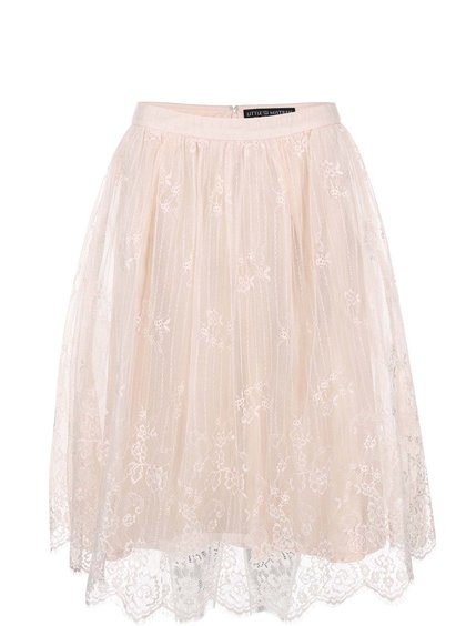 Krémová krajková sukně Little Mistress