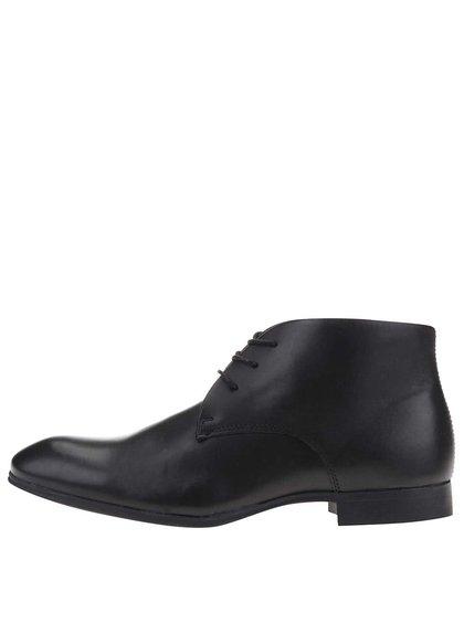Černé kožené kotníkové boty Selected Homme Dyannick