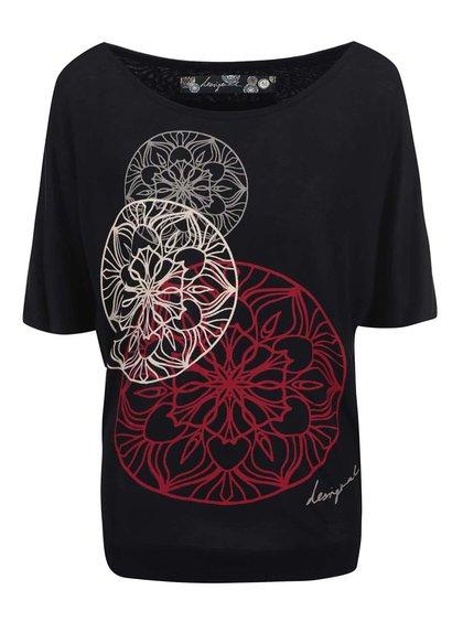 Černé tričko s potiskem Desigual Anémona